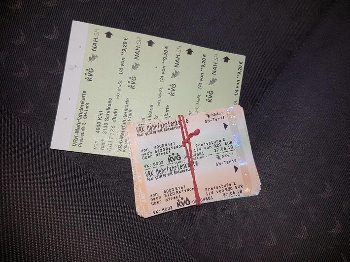 Sichergestellte Fahrkarten