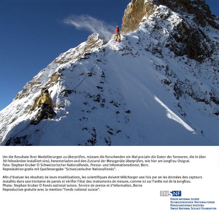 SNF: Bild des Monats November 2006: Computermodell simuliert  Verbreitung und Entwicklung des Permafrosts im steilen Fels