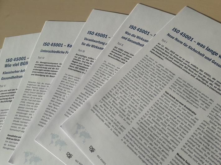 """ISO 45001: sechsteiliges Whitepaper der DQS / Das Wichtigste aus der Norm """"Sicherheit und Gesundheit bei der Arbeit"""" / Abb. 1: ISO 45001: sechsteiliges Whitepaper der DQS / Bild freigegeben für die Verwendung in Print- und Onlinemedien / Bildnachweis: ©DQS GmbH / Weiterer Text über ots und www.presseportal.de/nr/104526"""
