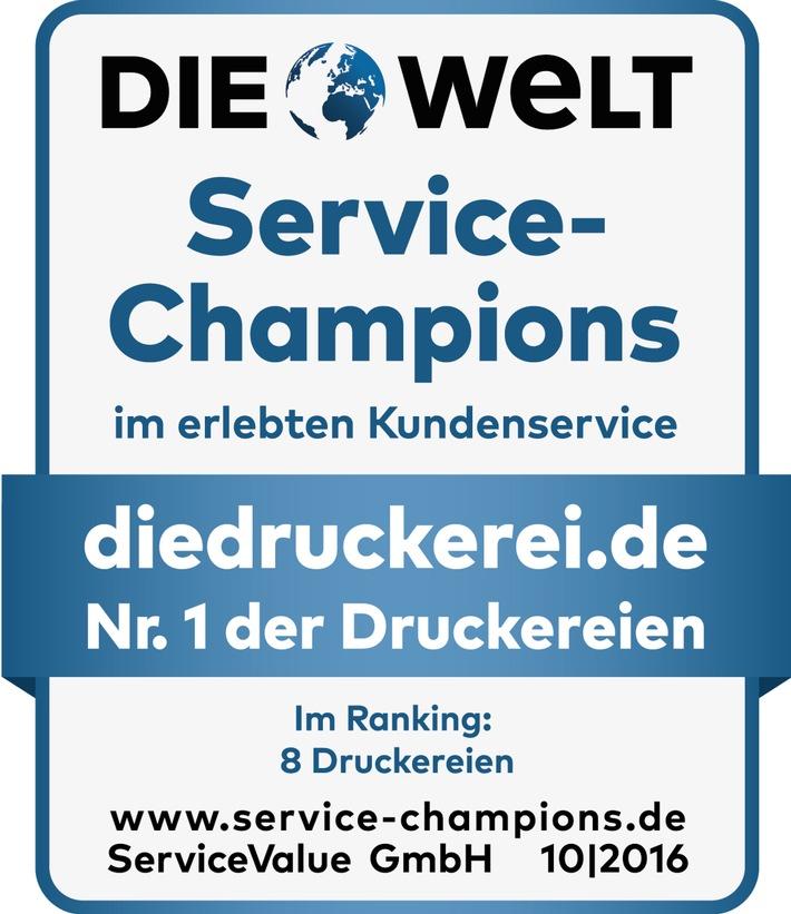 Service-Champion 2016: diedruckerei.de erneut Branchenprimus