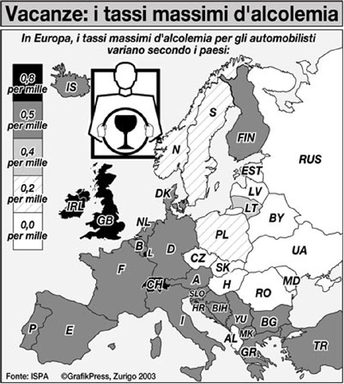 Prevenzione: il consiglio ISPA del mese - Tassi massimi di alcolemia sulle strade europee: restate lucidi quando guidate all'estero e non perderete la patente!