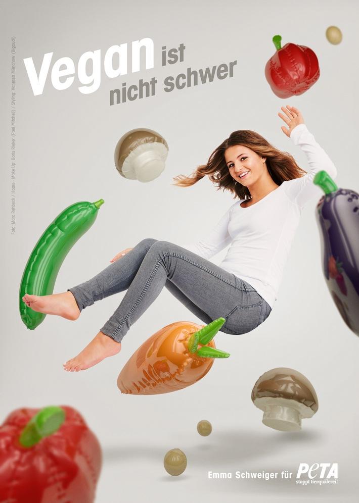 Emma Schweiger in neuer PETA-Kampagne: Vegan ist nicht schwer! / Schauspielerin lebt rein pflanzlich