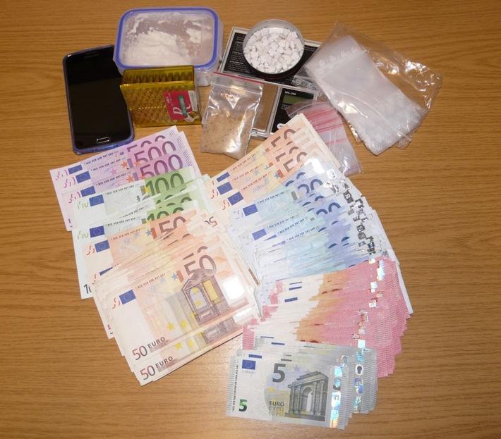 Sichergestelltes Dealgeld und Betäubungsmittel