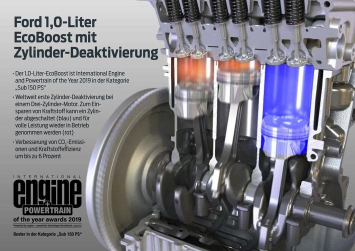 """Ford 1,0-Liter-EcoBoost-Motor gewinnt 2019 zum elften Mal International Engine and Powertrain of the Year (IEPOTY)-Titel. Weiterer Text über ots und www.presseportal.de/nr/6955 / Die Verwendung dieses Bildes ist für redaktionelle Zwecke honorarfrei. Veröffentlichung bitte unter Quellenangabe: """"obs/Ford-Werke GmbH"""""""