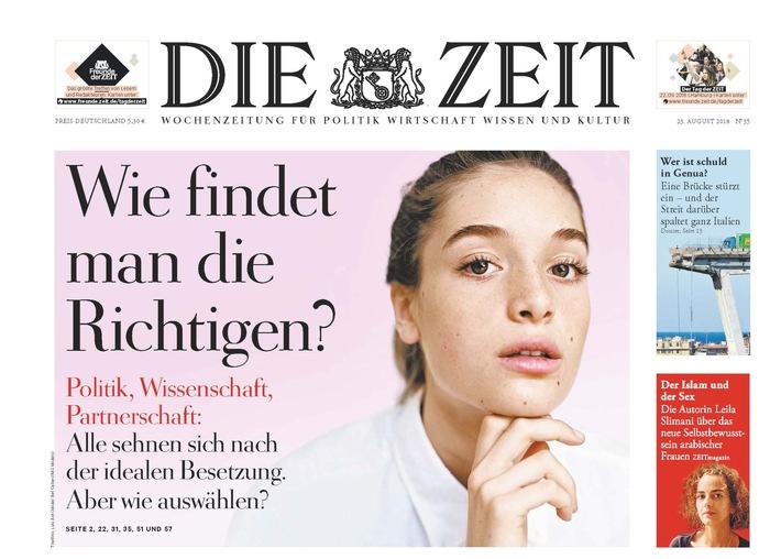 DIE ZEIT 35/18 / Weiterer Text ber ots und www.presseportal.de/nr/9377 / Die Verwendung dieses Bildes ist fr redaktionelle Zwecke honorarfrei. Verffentlichung bitte unter Quellenangabe: