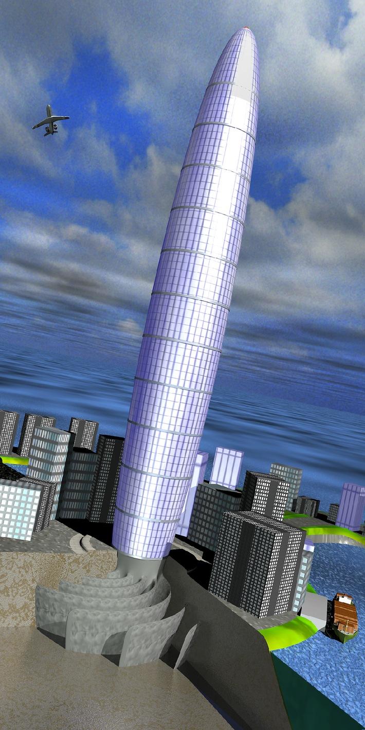 1100 Meter hoher Wohnturm mit Betonwurzeln