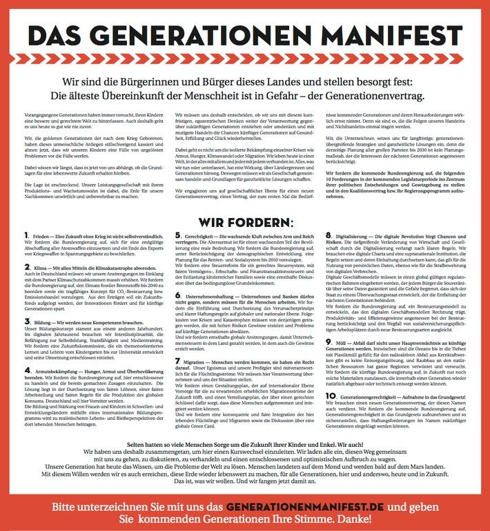 """Das Bild zeigt das Generationen Manifest 2017. Weiterer Text über ots und www.presseportal.de/nr/127804 / Die Verwendung dieses Bildes ist für redaktionelle Zwecke honorarfrei. Veröffentlichung bitte unter Quellenangabe: """"obs/Generationen Stiftung"""""""
