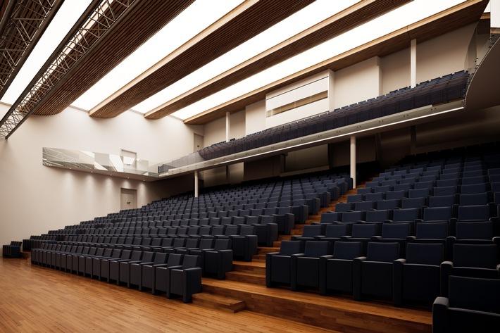 """Kernstück der Erweiterung des ECC Berlin (Estrel Congress Center) ist das neue Auditorium mit einer Kapazität für 900 Personen. Weiterer Text über ots und www.presseportal.de/nr/23285 / Die Verwendung dieses Bildes ist für redaktionelle Zwecke honorarfrei. Veröffentlichung bitte unter Quellenangabe: """"obs/Estrel Berlin"""""""