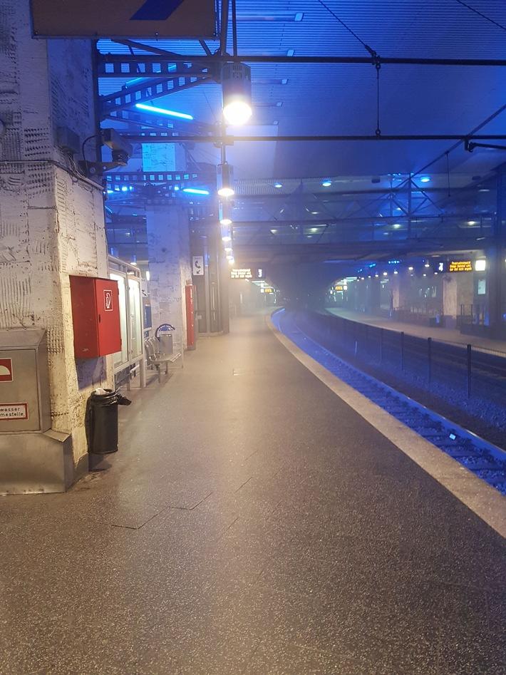 "...verwaister Bahnsteig im U-BHF ""Essen Hauptbahnof"""