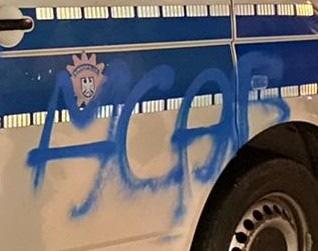 BPOL-BadBentheim: Dienstwagen der Bundespolizei mit Farbe besprüht