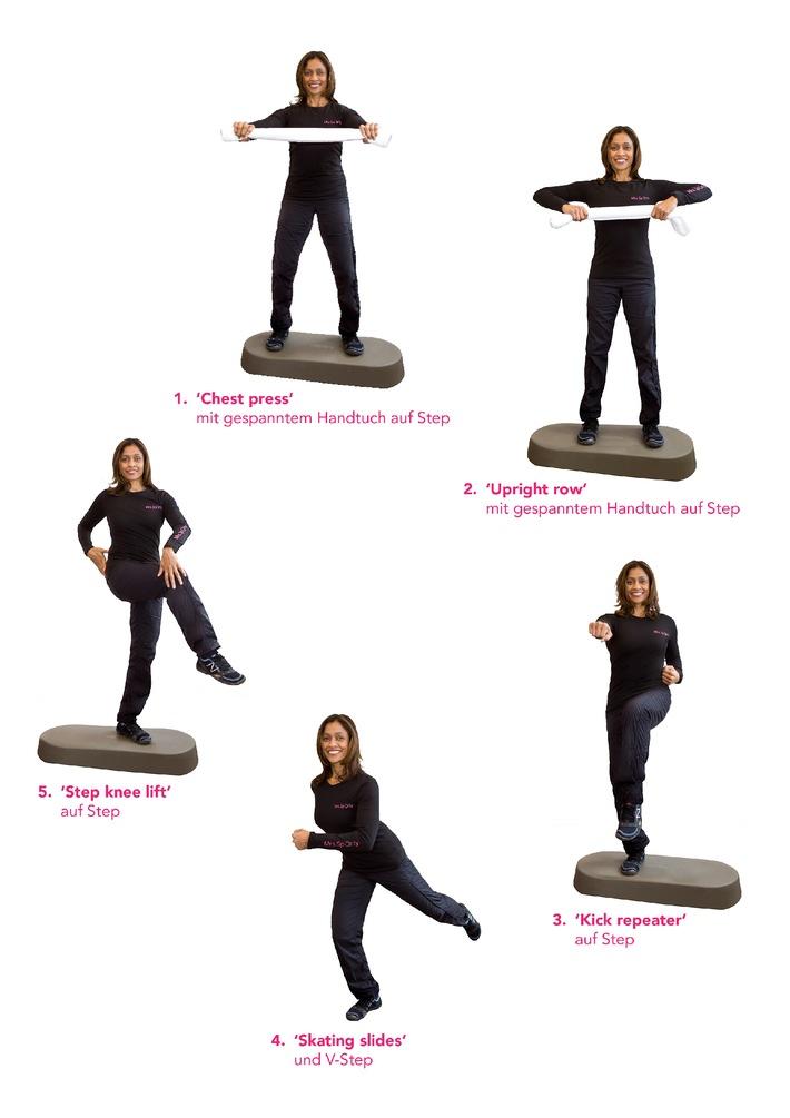 """Ramona Braganza zeigt Übungen auf dem Stepper Die Verwendung dieses Bildes ist für redaktionelle Zwecke honorarfrei. Veröffentlichung bitte unter Quellenangabe: """"obs/Mrs.Sporty GmbH"""""""