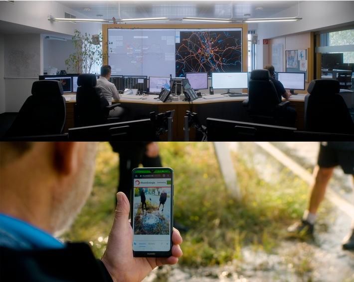 """notruf-software emergencyeye, wird nun auch von der wirtschaft gefordert / aus einem tragischen ereignis geboren, expandiert die corevas nun mit emergencyeye in die industrie. Die Mitarbeiter der Entstörleitstelle (Foto oben) der RheinEnergie nutzen als erster Energieversorger in Deutschland das System EmergencyEye zur besseren Unterstützung ihrer Kunden. Somit können sie nach Einverständnis des Kunden auf dessen Smartphone-Kamera zugreifen und Problemsituationen, wie z.B. einen Wasserrohrbruch (Foto unten) besser einschätzen. / Weiterer Text über ots und www.presseportal.de/nr/126734 / Die Verwendung dieses Bildes ist für redaktionelle Zwecke honorarfrei. Veröffentlichung bitte unter Quellenangabe: """"obs/Corevas/Schwarzfuchs"""""""