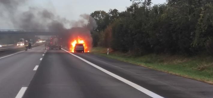 Pkw-Brand auf der BAB 61