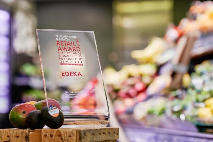 """Beste Obst- und Gemüseabteilung: """"Retail Award"""" 2020 geht an die EDEKA-Supermärkte. Weiterer Text über ots und www.presseportal.de/nr/51907 / Die Verwendung dieses Bildes ist für redaktionelle Zwecke honorarfrei. Veröffentlichung bitte unter Quellenangabe: """"obs/EDEKA ZENTRALE AG & Co. KG/Christian Schmid"""""""