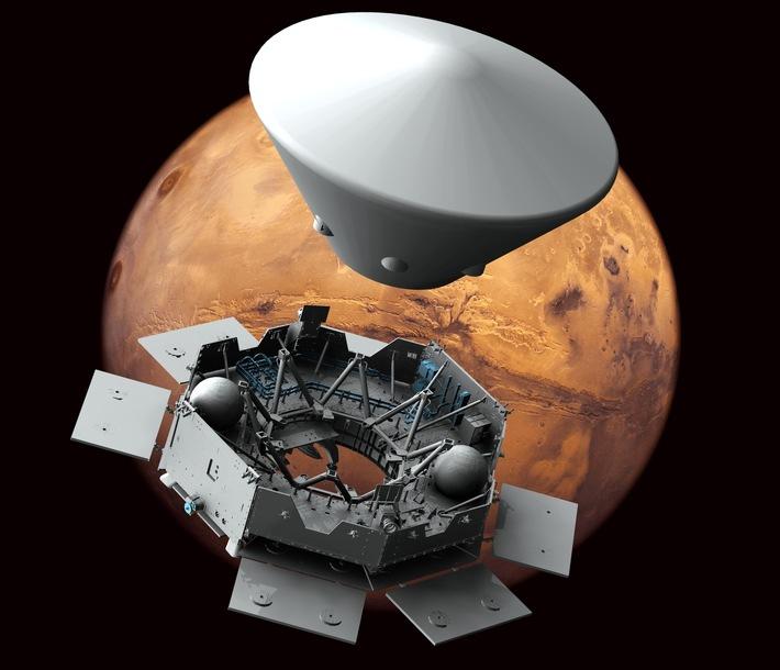 Das Carrier genannte Trägermodul von OHB sorgt bei der zweiten Mission des ExoMars-Programms für den sicheren Transport des Landers (Descent and Landing Module) und des Rovers zum Mars. © OHB System A