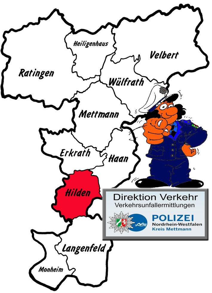 Symbolbild: Eine aktuelle Verkehrsunfallflucht aus Hilden beschäftigt die Ermittler vom zuständigen Verkehrskommissariat der Direktion Verkehr im Kreis Mettmann