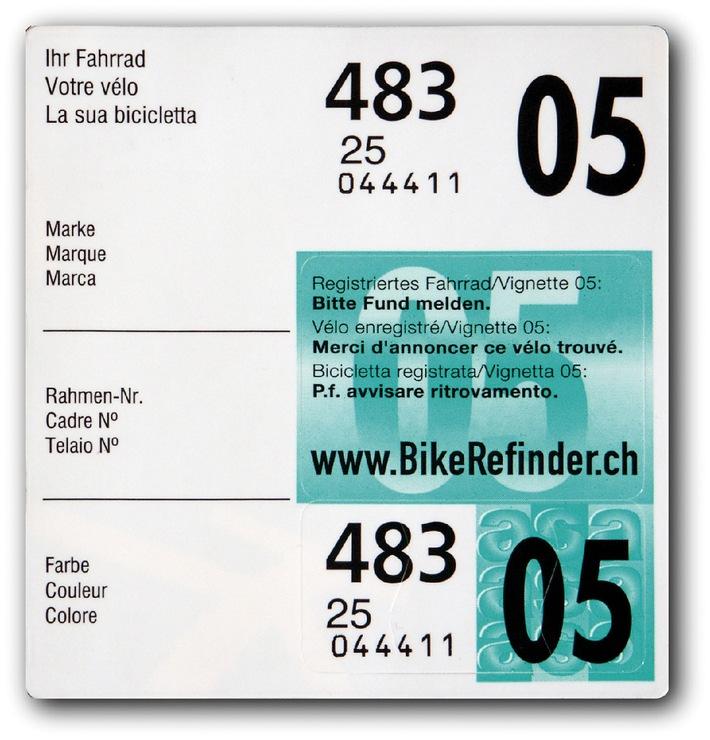 Vignette 05 con nuovo sistema di ritrovamento biciclette in Svizzera