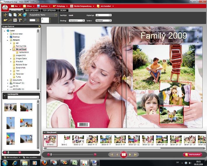 """CEWE FOTOBUCH: Software für Windows 7 mit Multi-Touch-Funktion / Die Verwendung dieses Bildes ist für redaktionelle Zwecke honorarfrei. Veröffentlichung bitte unter Quellenangabe: """"obs/CeWe Color AG & Co. OHG"""""""