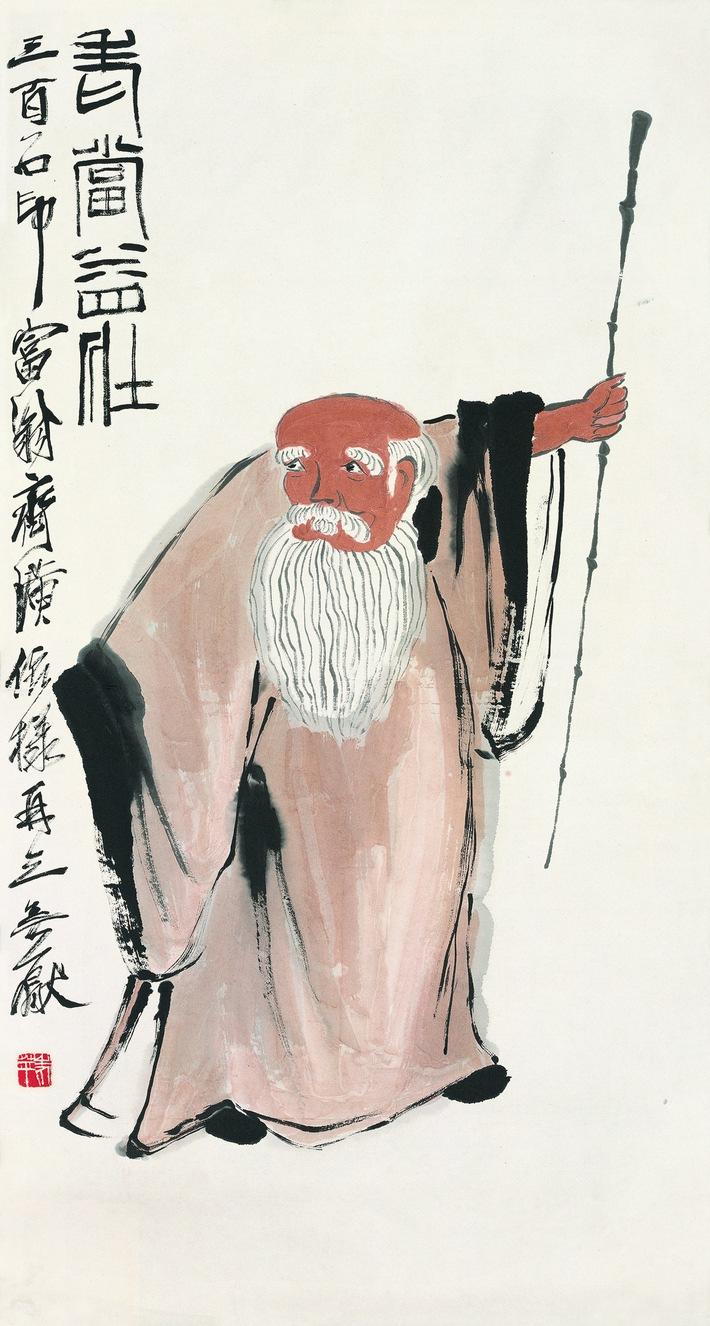 Qi Baishi, Farben auf Papier, 91×48 cm, nicht datiert, Sammlung der Kunstakademie Peking