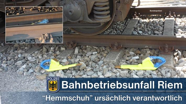 Ein nicht ordnungsgemäß entfernter Hemmschuh, der   eine Weiche blockierte, war ursächlich für die Entgleisung eines Güterzuges am Samstagmorgen in München-Riem.