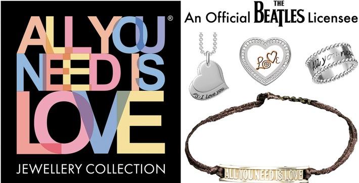 """ALL YOU NEED IS LOVE-Schmuckstücke mit den Titel der berühmten Love Songs der Beatles / Lizenznehmer startet Crowdfunding für Beatles-Schmuck. Weiterer Text über ots und www.presseportal.de/nr/50197 / Die Verwendung dieses Bildes ist für redaktionelle Zwecke honorarfrei. Veröffentlichung bitte unter Quellenangabe: """"obs/V.I.P. Entertainment & Merchandising AG/Love Collection Jewellery UG"""""""