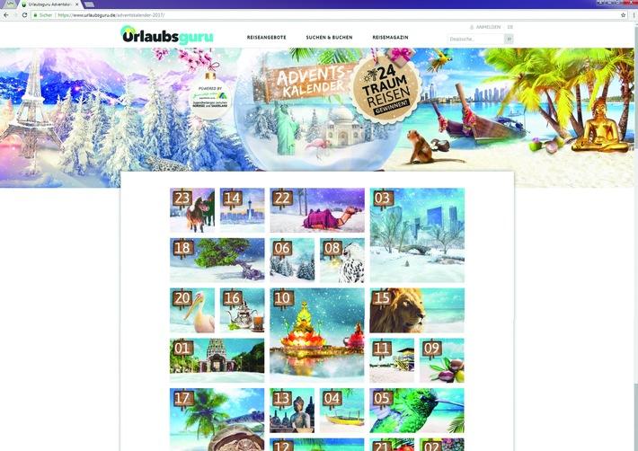 Das Adventskalender-Gewinnspiel von Urlaubsguru: Reisen im Wert von über 100.000 Euro werden bis zum 24. Dezember verlost.