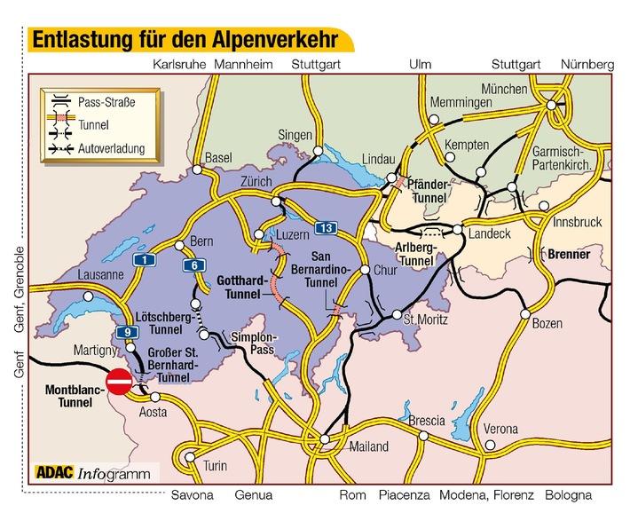 Ab Freitag, 21. Dezember 2001, wird durch die Wiedereröffnung des seit Ende Oktober gesperrten Gotthard-Tunnels der Alpentransit ein wenig einfacher. (Grafik: ADAC)