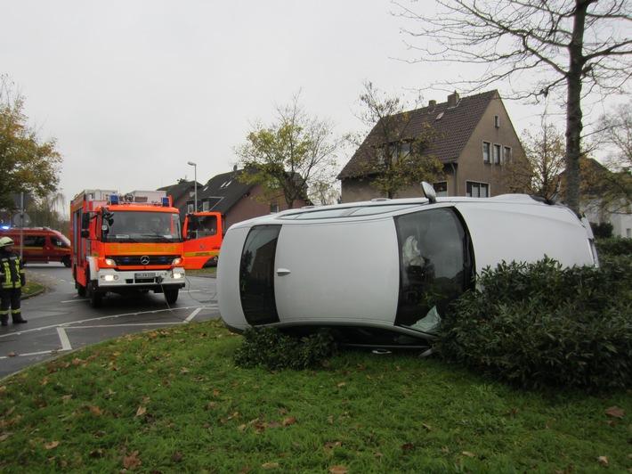 Verkehrsunfall am Kreisverkehr Heerstraße