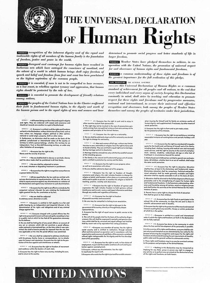 """Le 10 décembre 2018 marque le septantième anniversaire de l'adoption par les Nations unies de la Déclaration universelle des droits de l'homme. Texte complémentaire par ots et sur www.presseportal.ch/fr/nr/100007062 / L'utilisation de cette image est pour des buts redactionnels gratuite. Publication sous indication de source: """"obs/CSI Christian Solidarity International/public domain"""""""