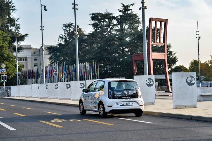 """Catch a Car s'est associée avec l'ONU à Genève / Texte complémentaire par ots et sur www.presseportal.ch/fr/nr/100056349 / L'utilisation de cette image est pour des buts redactionnels gratuite. Publication sous indication de source: """"obs/Catch a Car AG"""""""