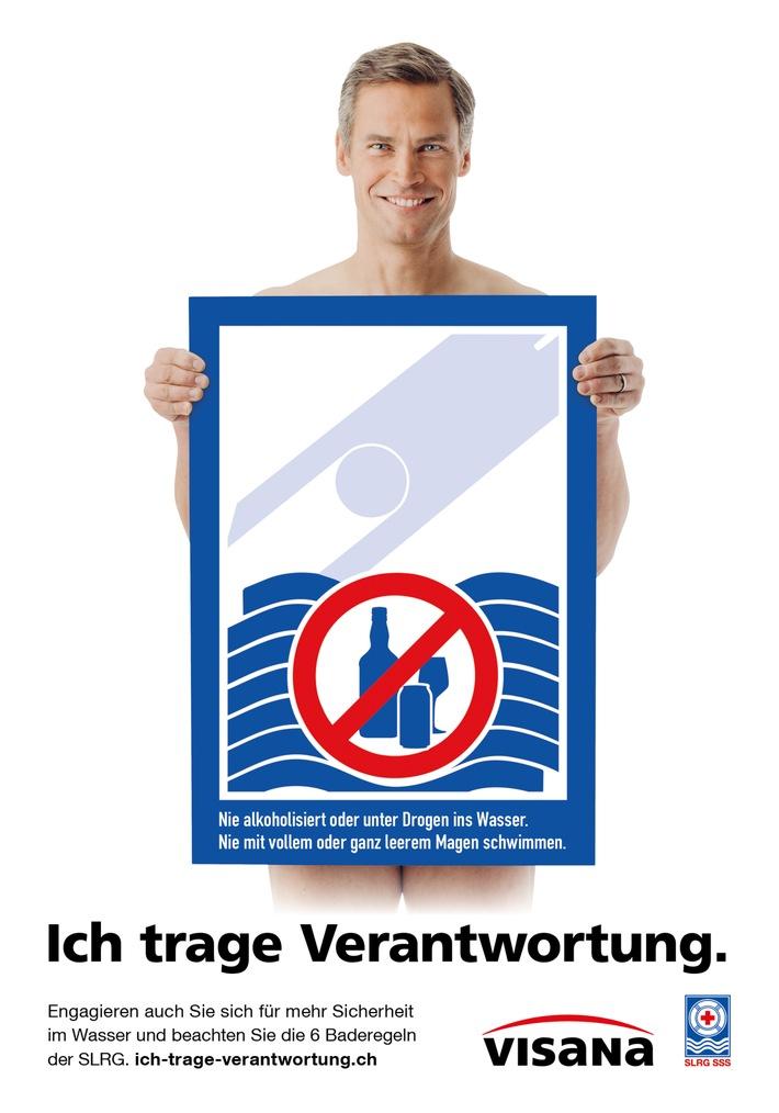 """Plakat der Baderegelkampagne """"Ich trage Verantwortung"""" mit SLRG Botschafter Renzo Blumenthal. Weiterer Text über ots und www.presseportal.ch/de/nr/100061916 / Die Verwendung dieses Bildes ist für redaktionelle Zwecke honorarfrei. Veröffentlichung bitte unter Quellenangabe: """"obs/Schweizerische Lebensrettungs-Gesellschaft SLRG/.zvg"""""""