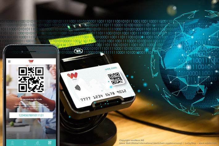"""Von der weeCard über die weeApp zur Mobile Wallet. """"wee"""" - powered by Blockchain! Weiterer Text über ots und www.presseportal.de/nr/132657 / Die Verwendung dieses Bildes ist für redaktionelle Zwecke honorarfrei. Veröffentlichung bitte unter Quellenangabe: """"obs/weeNexx AG"""""""