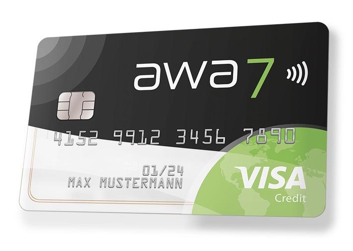 """Die neue awa7® Visa Kreditkarte punktet mit Top-Konditionen und zahlreichen Zusatzleistungen. / Weiterer Text über ots und www.presseportal.de/nr/101624 / Die Verwendung dieses Bildes ist für redaktionelle Zwecke honorarfrei. Veröffentlichung bitte unter Quellenangabe: """"obs/Hanseatic Bank"""""""