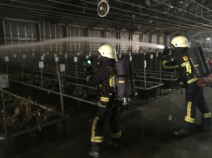 Ein Atemschutztrupp in dem betroffenen Gewächshaus in Uetersen.