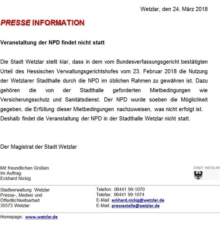 ▷ POL-GI: Pressemeldung vom 24.03.2018: Wetzlar: Stadthalle bleibt ...
