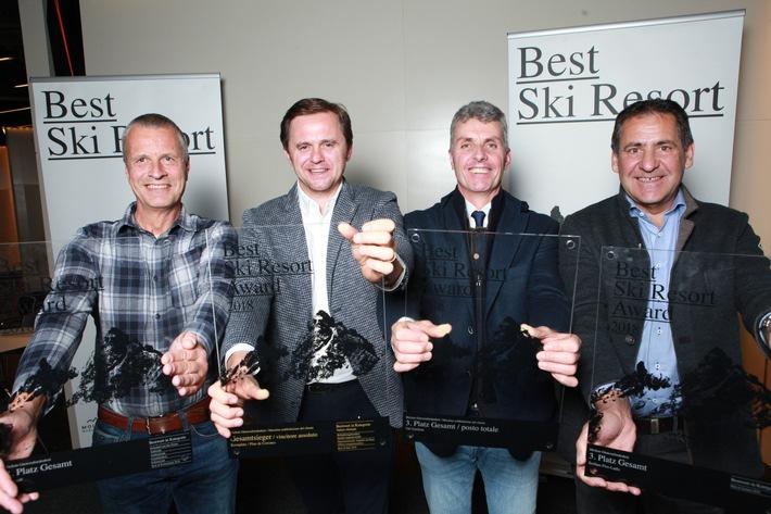 BILD zu OTS - Die Top 3 bei BEST SKI RESORT 2018 (v.l.): Markus Hasler (Zermatt, Platz 2), Matthias Prugger (Kronplatz, Platz 1), Andreas Schenk (Gröden/Val Gardena, Platz 3) und Hubert Pale (Serfaus-Fiss-Ladis, Platz 3).