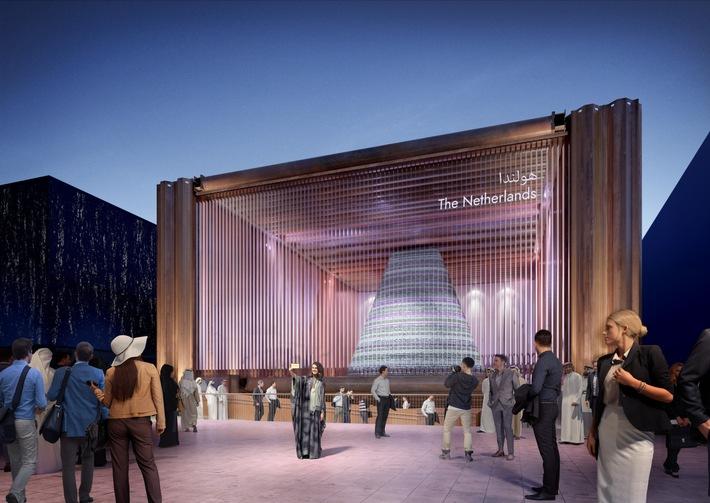 """Dutch pavilion_exterior©V8 Architects / Weiterer Text über ots und www.presseportal.ch/de/nr/100017100 / Die Verwendung dieses Bildes ist für redaktionelle Zwecke honorarfrei. Veröffentlichung bitte unter Quellenangabe: """"obs/Expomobilia AG"""""""