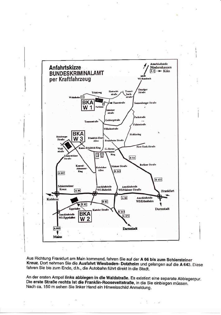 Anfahrtskizze zum Bundeskriminalamt in Wiesbaden, Franklin Roosevelt Straße 20