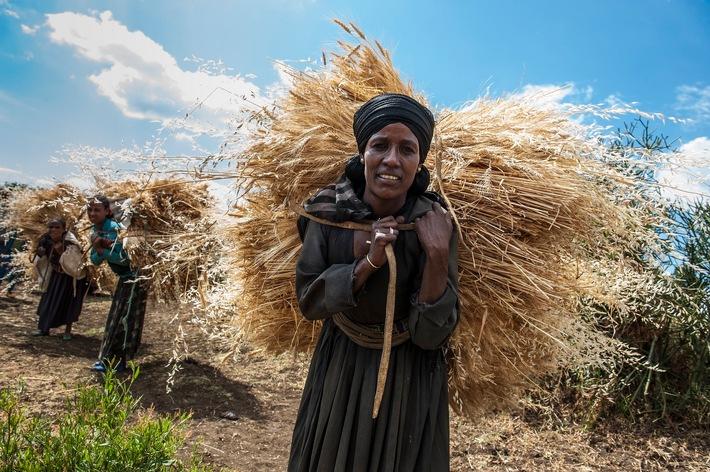 """15. Oktober: Internationaler Tag der Frauen in ländlichen Gebieten / Frauen sind entscheidend für die ländliche Entwicklung in Äthiopien / Frauen sind entscheidend für die Entwicklung von Äthiopien / Fotograf: Rainer Kwiotek / Bild für redaktionelle Zwecke frei verfügbar. Bitte Bildhinweis: Menschen für Menschen / Weiterer Text über ots und www.presseportal.de/nr/17459 / Die Verwendung dieses Bildes ist für redaktionelle Zwecke honorarfrei. Veröffentlichung bitte unter Quellenangabe: """"obs/Die Stiftung Menschen für Menschen/Rainer Kwiotek"""""""