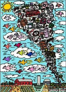 """Seine Bilder sprühen nur so vor Lebenslust. Jetzt wird der weltbekannte New Yorker PopArt-Künstler James Rizzi den Opfern des verheerenden Erdbebens in Pakistan mit einer Benefizaktion helfen. Die Verwendung dieses Bildes ist für redaktionelle Zwecke honorarfrei. Abdruck bitte unter Quellenangabe: """"obs/action medeor"""""""
