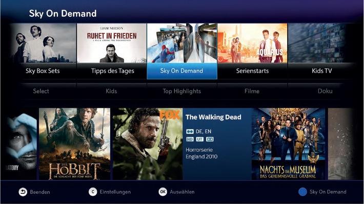 Das neue Sky Entertainment-Erlebnis - mehr Komfort, mehr Auswahl, mehr auf Abruf