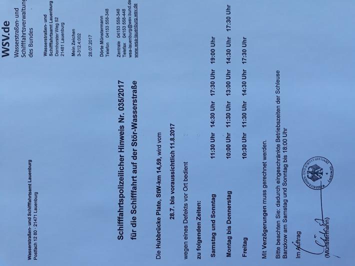 Schifffahrtspolizeilicher Hinweis Nr. 035/2017 des WSA Lauenburg