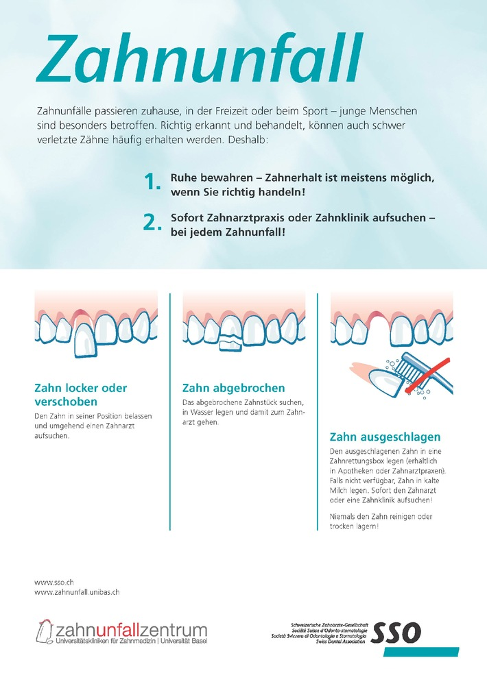 Zahnunfall in der Badi - was tun? (BILD)