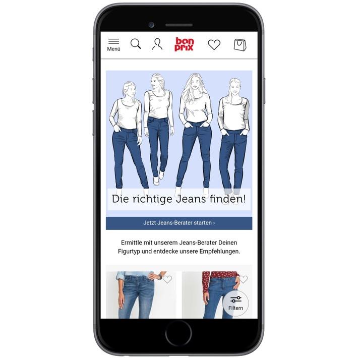 """Der neue Jeans-Berater von bonprix erleichtert ab sofort die aufwändige Suche nach der perfekt sitzenden Jeans. Mit dem individualisierten Online-Tool finden Kundinnen in wenigen Schritten die zu ihrer Figur passende Jeans. Weiterer Text über ots und www.presseportal.de/nr/59646 / Die Verwendung dieses Bildes ist für redaktionelle Zwecke honorarfrei. Veröffentlichung bitte unter Quellenangabe: """"obs/bonprix Handelsgesellschaft mbH"""""""
