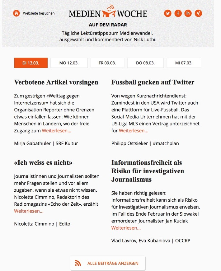 """Mit dem Format «Auf dem Radar» bietet das Online-Magazin MEDIENWOCHE neu einen täglichen Newsletter. Weiterer Text über ots und www.presseportal.ch/de/nr/100021280 / Die Verwendung dieses Bildes ist für redaktionelle Zwecke honorarfrei. Veröffentlichung bitte unter Quellenangabe: """"obs/MEDIENWOCHE"""""""