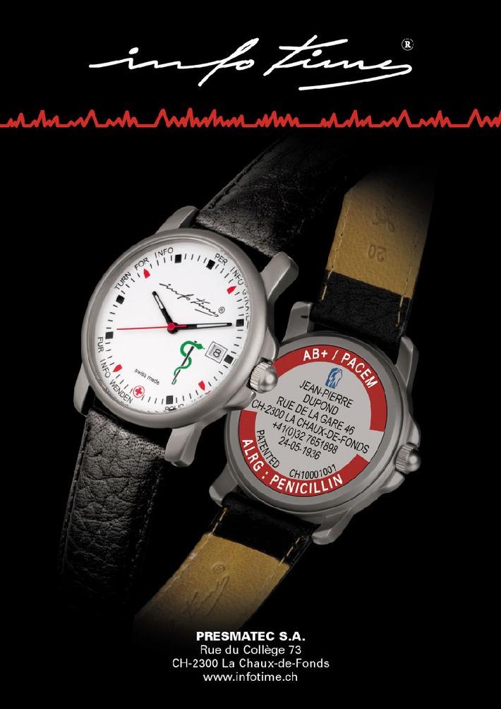 """Ab März 2005 erhalten Sie auf dem Schweizer Markt die einzigartige INFOTIME®-Uhr mit einer vollständig personalisierten Uhrenrückseite. Weiterer Text über ots. Die Verwendung dieses Bildes ist für redaktionelle Zwecke honorarfrei. Abdruck bitte unter Quellenangabe: """"obs/infotime®""""."""
