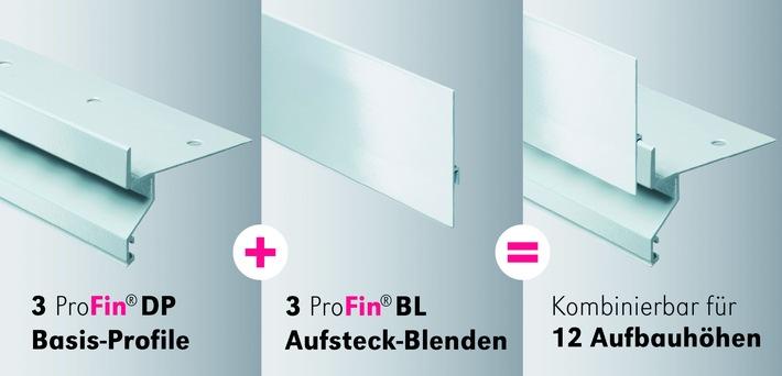 Verarbeiter können inzwischen mit drei Profilen und drei Blenden zwölf Aufbauhöhen realisieren ? einfache Verarbeitung und sichere Entwässerung der Balkonränder inklusive.