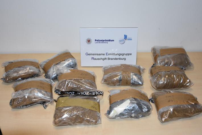ZOLL-BB: 10 kg Amphetamin bei einer Fahrzeugkontrolle auf der Bundesautobahn A 12 festgestellt