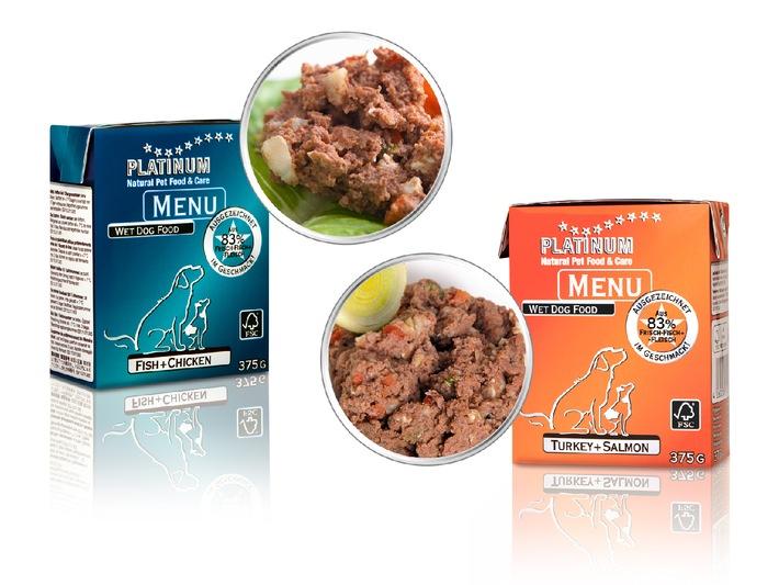 """Neu und lecker: Hundenassnahrung """"PLATINUM MENU"""" jetzt mit zwei neuen Geschmacksrichtungen aus 83 % Frischfleisch und Frischfisch"""