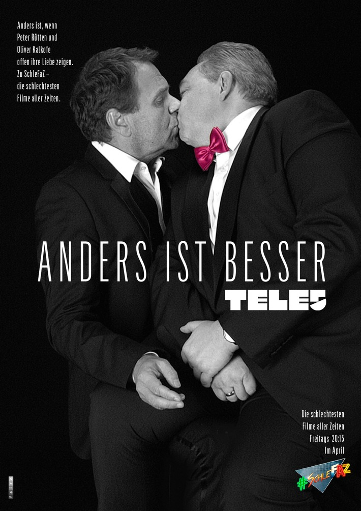"""Ein Kuss - mehr nicht. #schlefaz #KISSvsDISS / Weiterer Text über ots und www.presseportal.de/nr/43455 / Die Verwendung dieses Bildes ist für redaktionelle Zwecke honorarfrei. Veröffentlichung bitte unter Quellenangabe: """"obs/Tele 5/Feico Derschow"""""""